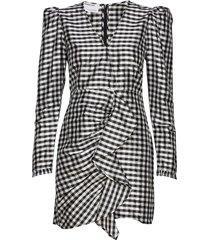 silk wrap dress with puff sleeves kort klänning svart designers, remix
