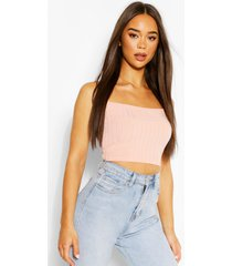recycled chunky rib crop top, coral pink