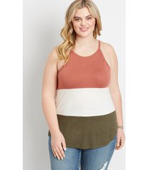 maurices plus size womens 24/7 color block high neck tank top pink