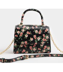 women's christie floral mini satchel in black by francesca's - size: one size