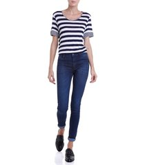 calca dudalina jeans skinny super strech feminina (jeans escuro, 46)