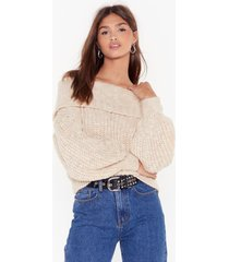 womens knit's a winner off-the-shoulder sweater - oatmeal