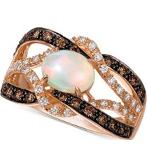 le vian neopolitan opal (5/8 ct. t.w.), vanilla diamond (1/5 ct. t.w.), and chocolate diamond (1/3 ct. t.w.) braided statement ring in 14k rose gold