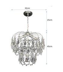 lustre pendente de cristal acrílico alto brilho lina design 42x70 ac07
