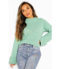 petite rib knit high neck sweater, sage
