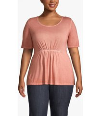 lane bryant women's ruched-waist tee 26/28 burnt sienna