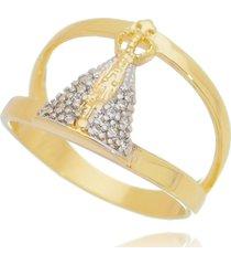 anel drusi semi joias nossa senhora cristal dourado