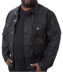 men's big & tall mvp collections python print denim jacket