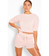 geribbelde top en shorts set, blush