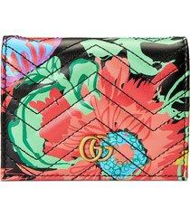 gucci x ken scott floral print gg card case wallet - black