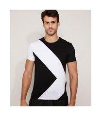 camiseta masculina slim com recorte geométrico manga curta gola careca preta