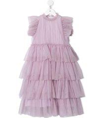 il gufo tulle tiered sleeveless dress - purple