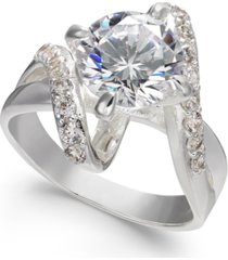 charter club crystal stone bypass ring in fine silver plate, created for macy's