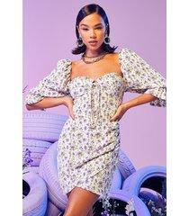 ditsy floral puff shoulder corset dress, lilac