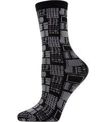 natori woven geo crew socks, women's, black natori