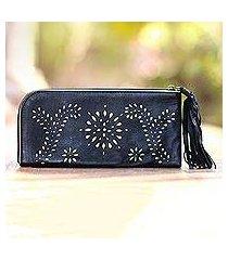 leather wallet clutch, 'prambanan fireworks in black' (indonesia)