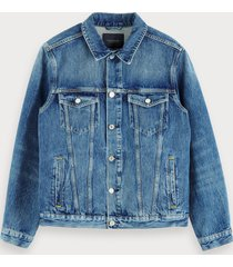 scotch & soda denim truckerjack - blauw cure