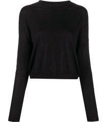 marni drop-shoulder contrast-trim sweater - black