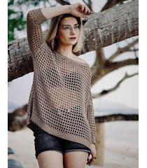 sweter ażurowy mokka