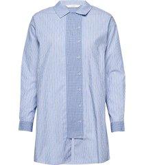 nuarza shirt långärmad skjorta blå nümph