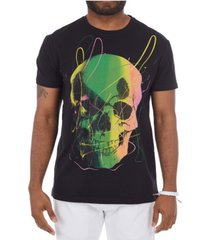 heads or tails 3d graphic paint spatter skull t-shirt