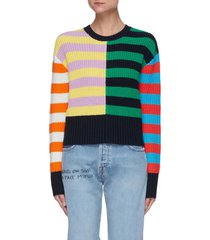 'bridgeport' colourblock stripe cotton blend crop sweater
