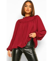 high neck ruffle oversized smock blouse, berry