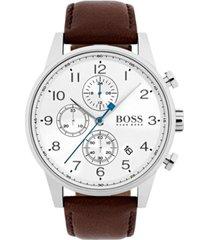 boss hugo boss men's chronograph navigator dark brown leather strap watch 44mm 1513495
