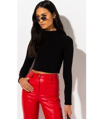 akira mock neck long sleeve crop top