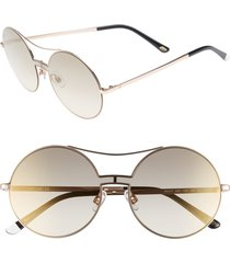 women's web 55mm round metal shield sunglasses - rose gold/ brown