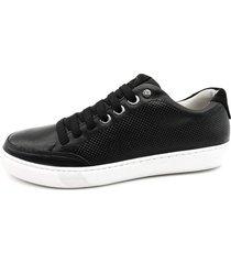 calçado masculino sapatênis em couro cor preto linha cloud
