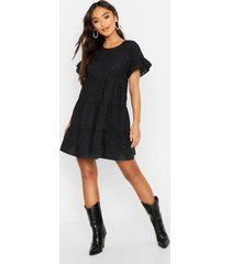 petite broderie anglaise smock dress, black