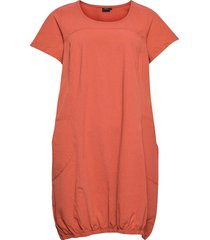 dress plus short sleeves cotton round neck knälång klänning orange zizzi