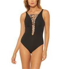 bleu by rod beattie animal-print strappy one-piece swimsuit women's swimsuit