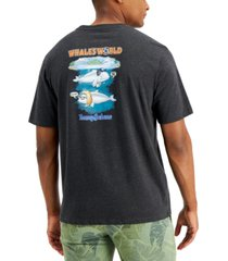tommy bahama men's whale's world logo graphic pocket t-shirt