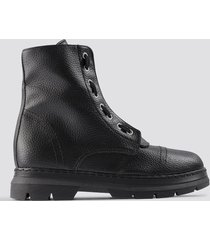 na-kd shoes zipper detail combat boots - black