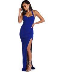 vestido racy modas longo com fenda e alcinha azul