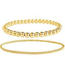 14k yellow goldplated 2-piece beaded stretch bracelet set