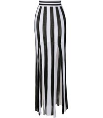 balmain vertical-stripe knitted skirt - white