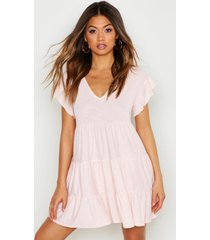 crinkle smock dress, nude