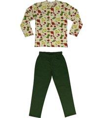 conjunto de pijama de dinossauro douvelin verde - bege/verde/vermelho - menino - algodã£o - dafiti