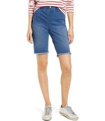 women's hue high waist bermuda shorts, size x-large - blue