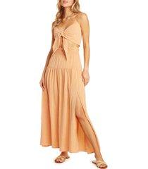 women's willow julie halter crop top two-piece maxi dress, size x-large - orange
