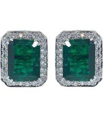 antique asscher cut emerald earrings