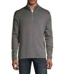 robert graham men's quarter-zip cotton jacket - charcoal - size xl