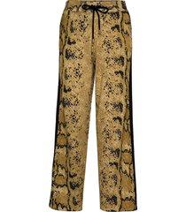 knitted pants in pyton print vida byxor gul coster copenhagen
