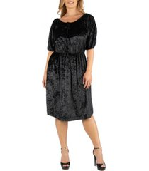 24seven comfort apparel off shoulder knee length black velvet plus size dress