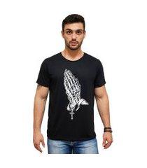 t-shirt 100% algodáo estampa caveira/terço stefanello cm01 preta