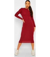 tall geribbelde midi bodycon jurk met lage ronde hals en lange mouwen, berry