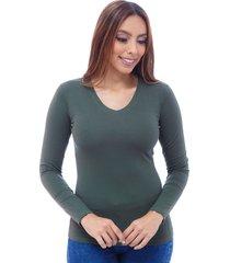 blusa dama cuello v manga larga en jersey licra verde militar s bocared minerva 272100028